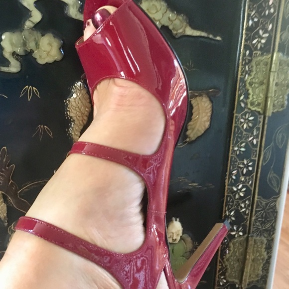 red patent strappy heels